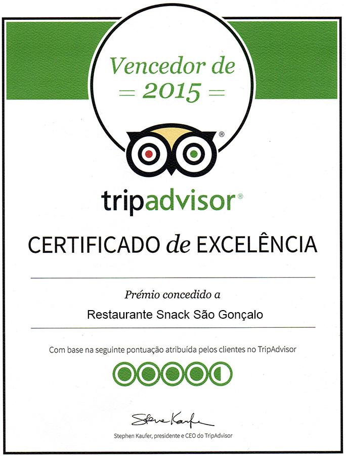 Certificado de Excelência ao Restaurante São Gonçalo