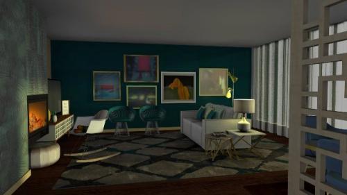 img-Decoração de sala de estar na cor verde