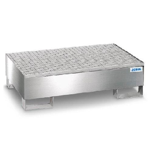 img-Bacia de retenção em aço inoxidável com grade galvanizada para 2 bidões