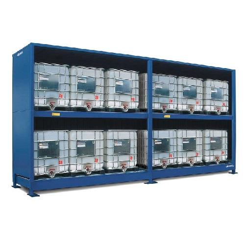 img-Armazém contentor modular para 12 IBC de químicos sem portas