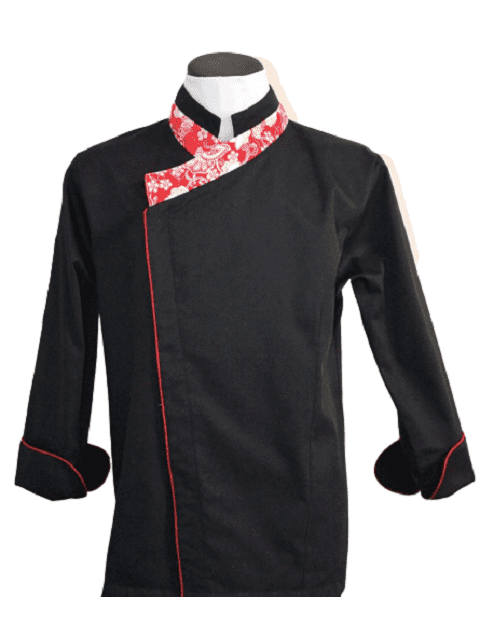 Black coat with red collar