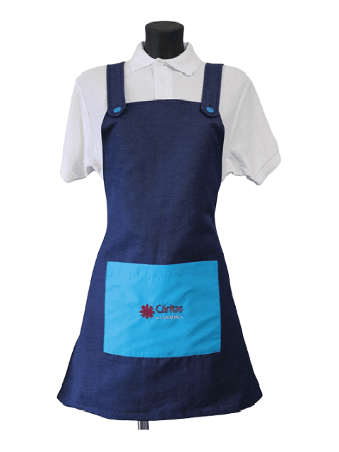 Women's Apron with blue pocket