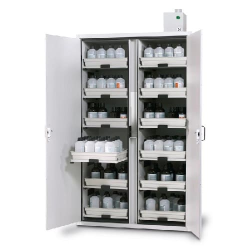 destaque Armário para ácidos e bases com porta batente dupla e 12 gavetas